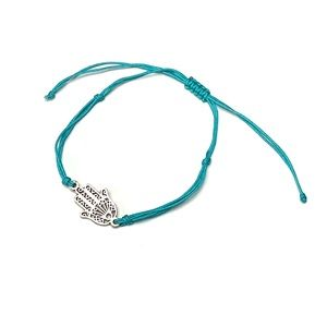 Hamsa Hand Adjustable Cord Bracelet - Teal